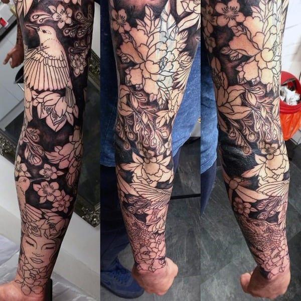 Black Ink Guys Cherry Blossom Sleeve Tattoo