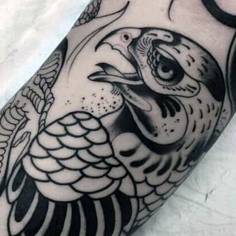 Black Ink Guys Falcon Arm Tattoo Design Ideas