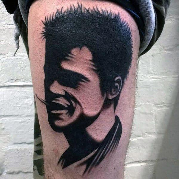 Black Ink Guys Fight Club Tyler Durden Silhouette Tattoos On Thigh