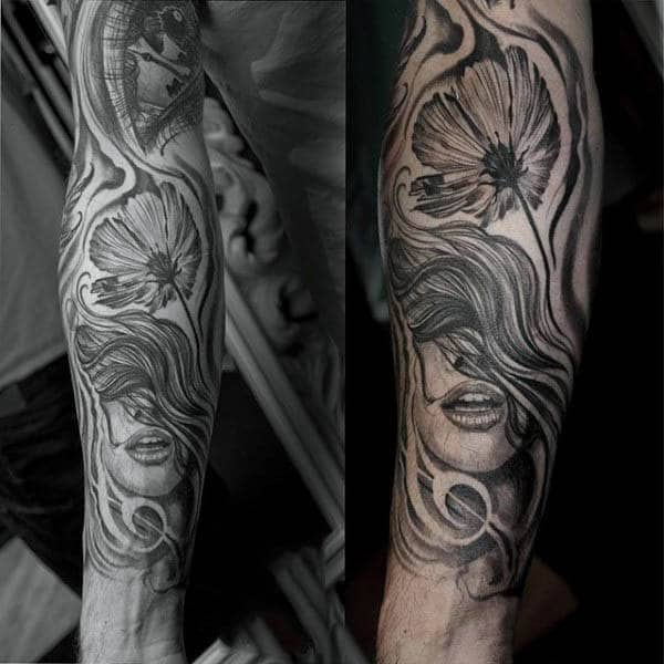 Black Ink Guys Poppy Tattoo Sleeve Design Ideas
