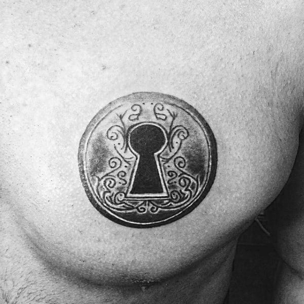 Black Ink Guys Shaded Keyhole Chest Tattoos For Men