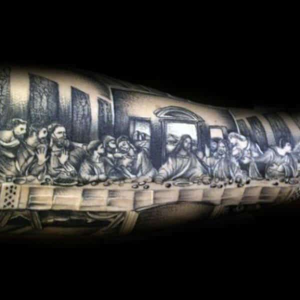 Black Ink Guys Shaded Tattoo Of Last Supper Design