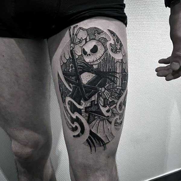 Black Ink Guys Thigh Night Before Christmas Tattoo Of Jack Skellington