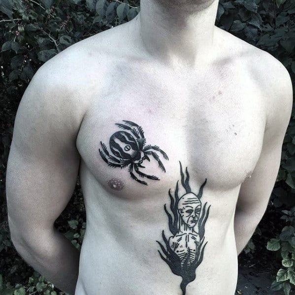 Black Ink Guys Traditional Upper Chest Spider Tattoos
