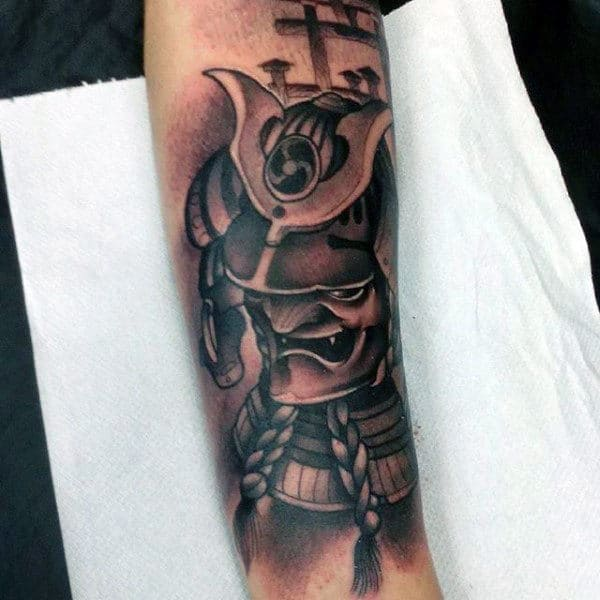 Black Ink Half Sleeve Sly Samurai Mask Tattoo For Men
