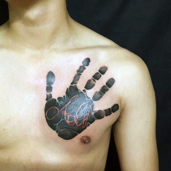 Black Ink Handprint With Red Ink Name Mens Chest Tattoos