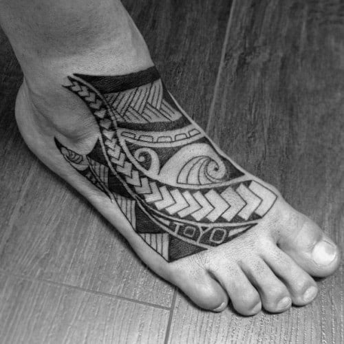 40 tribal foot tattoos for men manly design ideas for Ankle tattoos for guys