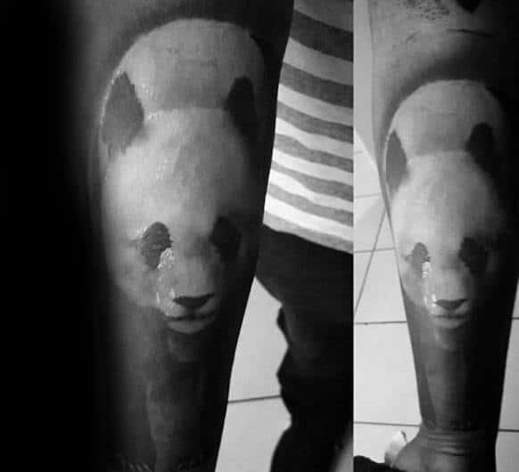 Black Ink Heavily Shaded Panda Forearm Tattoos For Men