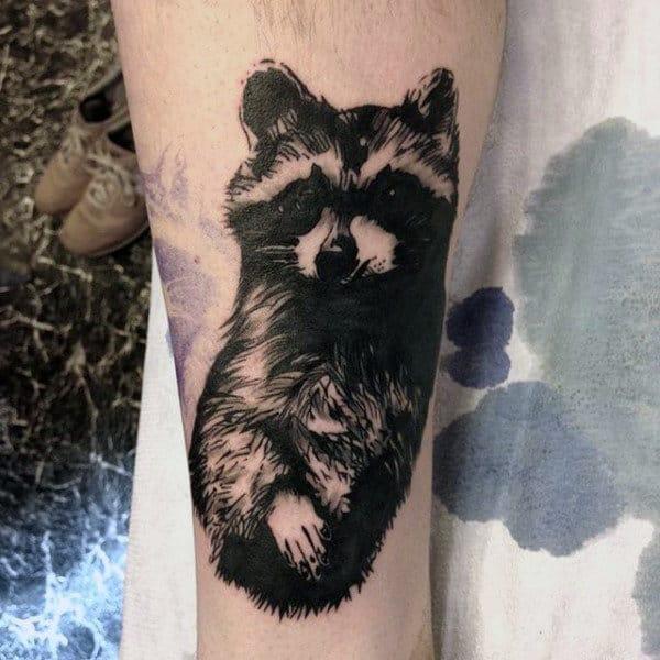 Black Ink Incredible Mens Raccoon Lower Leg Tattoos