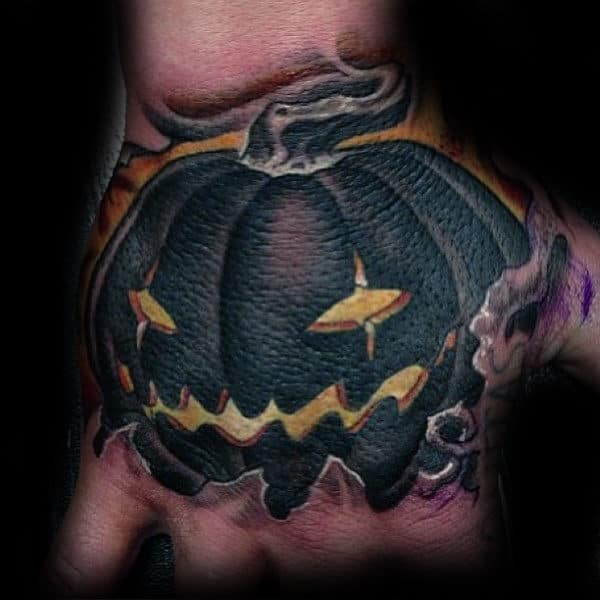 Black Ink Jack O Lantern Tattoos On Mens Hands