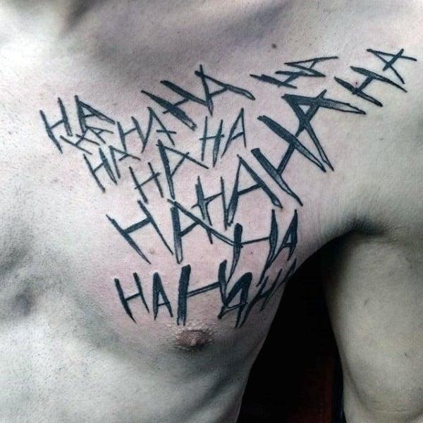 Black Ink Joker Laugh Guys Ha Upper Chest Tattoo Ideas