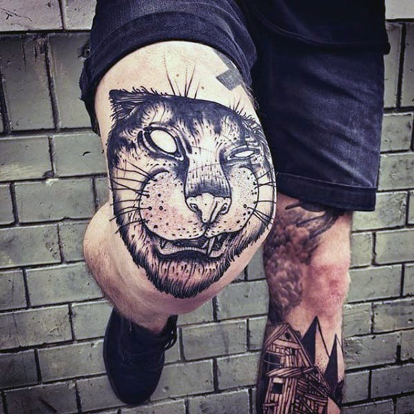 Black Ink Jungle Cat Mens Knee Tattoos