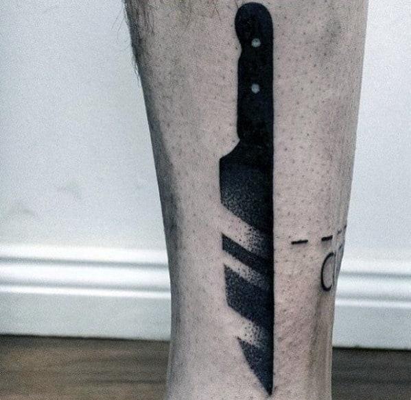Black Ink Knife Cool Simple Guys Leg Tattoo