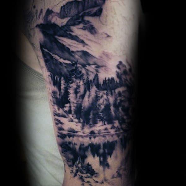 Black Ink Landscape Watercolor Male Arm Tattoos