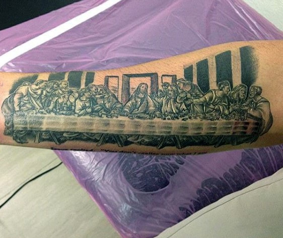 Black Ink Last Supper Tattoo Designs For Guys