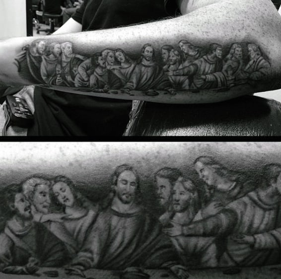 Black Ink Last Supper Tattoo For Guys On Forearm