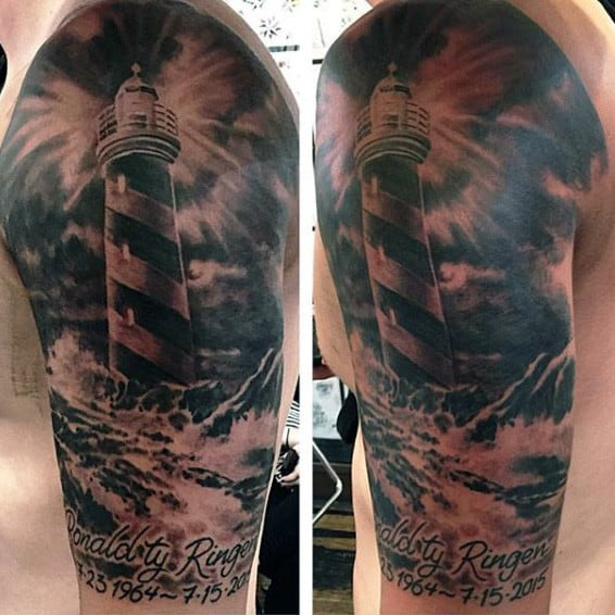 Black Ink Lighthouse Arm Tattoo For Males