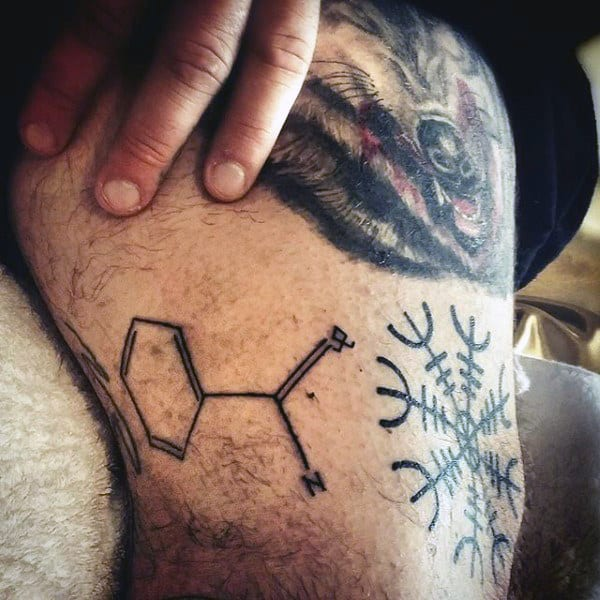 Black Ink Lines Chemistry Compound Guys Thigh Tattoo