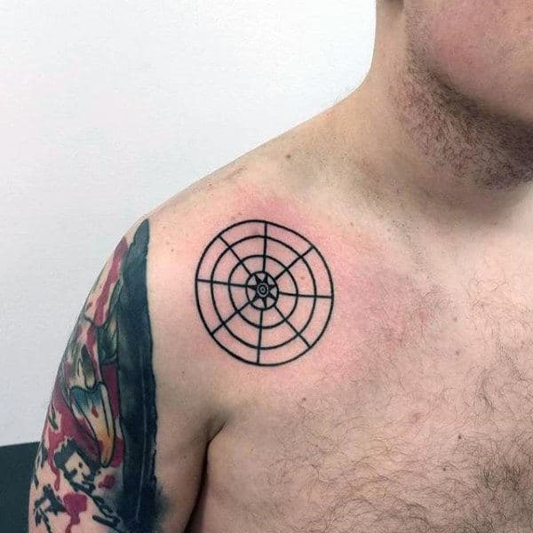 Black Ink Lines Circle Mens Tattoo On Upper Chest