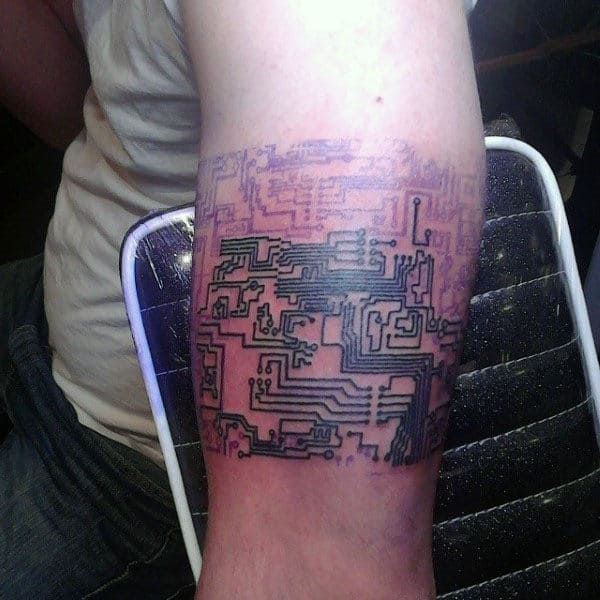 Black Ink Lines Circuit Board Armband Tattoos For Guys