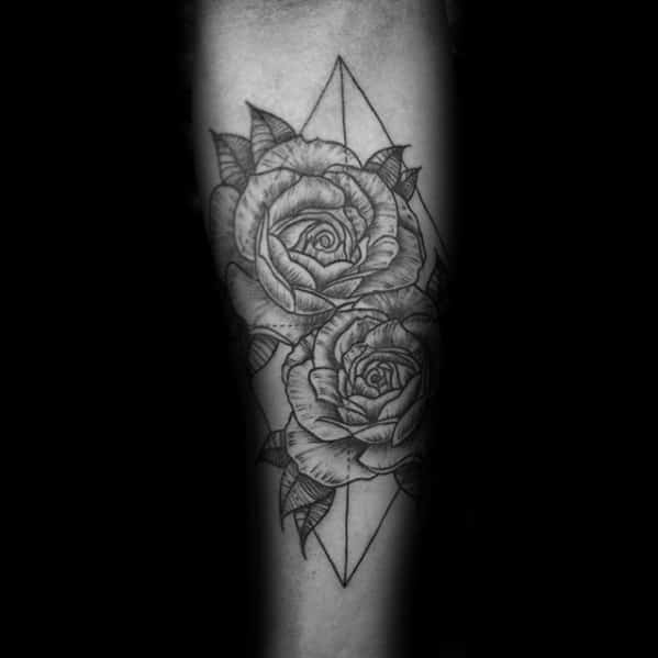 Black Ink Lines Guys Geometric Rose Tattoo On Forearm