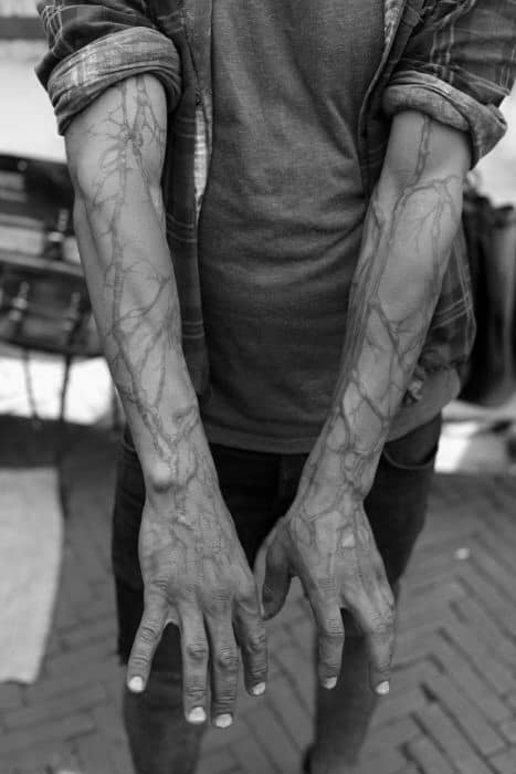Black Ink Lines Tree Roots Full Arm Tattoos For Men