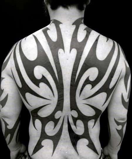 Black Ink Lines Tribal Male Tattoos On Back Of Body