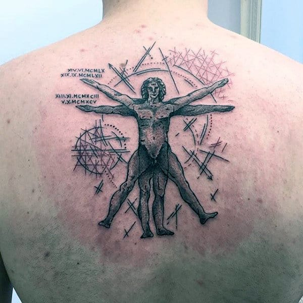 Black Ink Lines With Shaded Vitruvian Man Mens Upper Back Tattoos