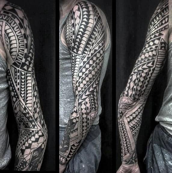black-ink-male-tribal-tattoos-sleeve-designs