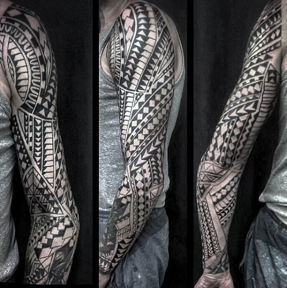 Black Ink Male Tribal Tattoos Sleeve Designs