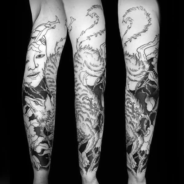 Black Ink Masculine Guys Cool Kitsune Full Arm Tattoos