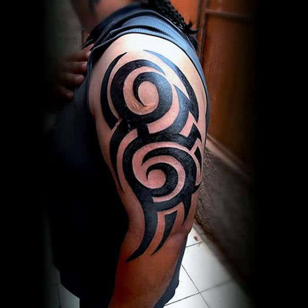 75 tribal arm tattoos for men interwoven line design ideas for Tribal tattoos for men forearm