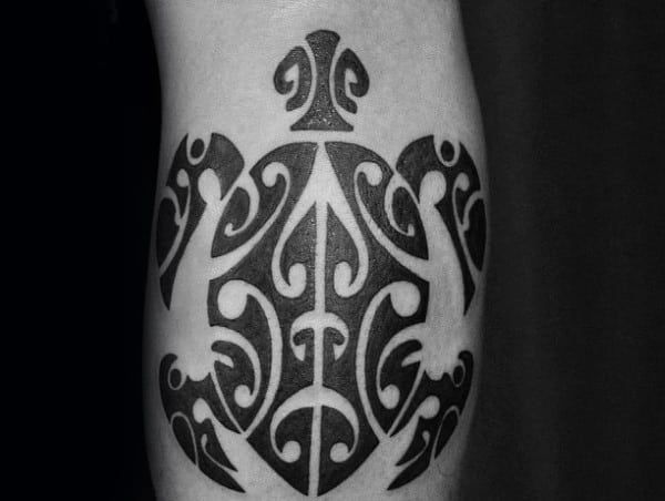 Black Ink Mens Hawaiian Inner Forearm Tattoo Design Of Tribal Turtle