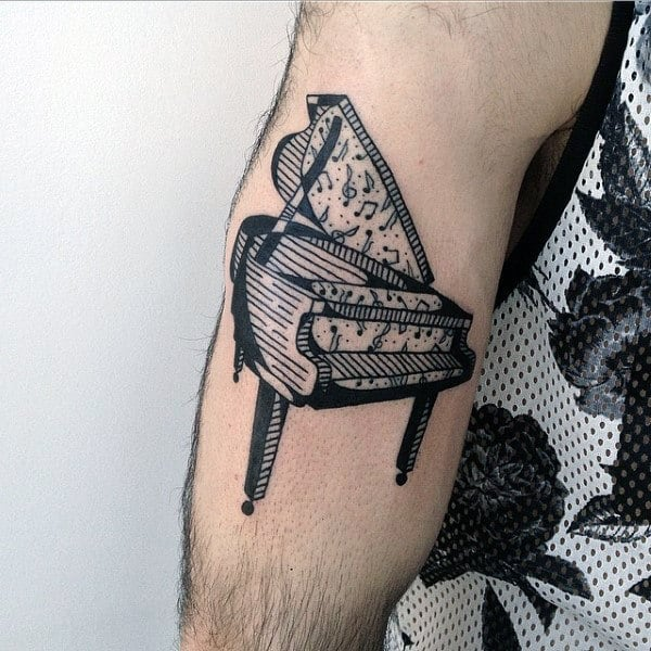 Black Ink Mens Piano Notes Arm Tattoo Ideas