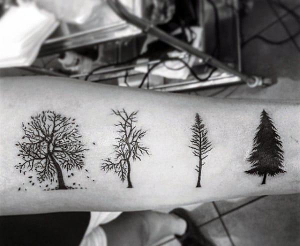 Black Ink Men's Pine Tree Tattoo Of Seasons