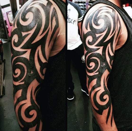 Black Ink Mens Tribal Sleeve Tattoos