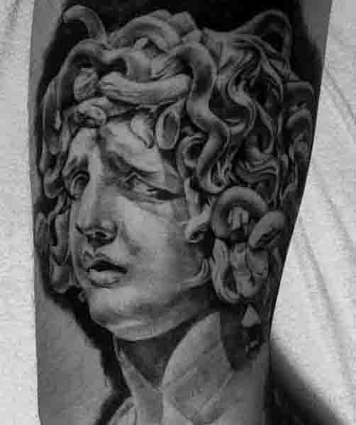 Black Ink Mens Upper Arm Medusa Tattoos