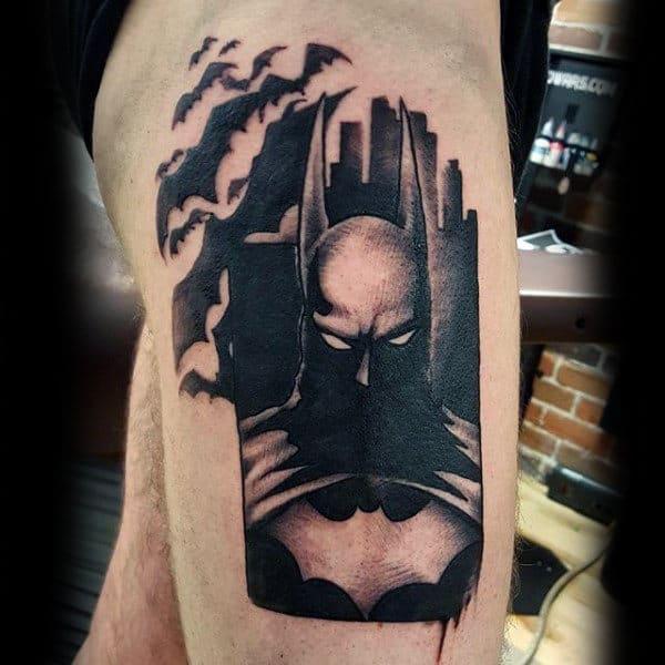 Black Ink Mens Upper Thigh Batman Tattoo Design Inspiration