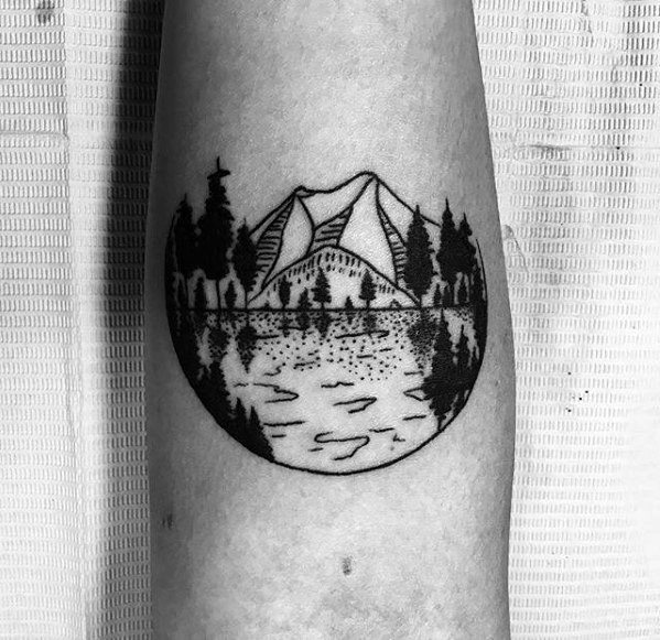 Black Ink Nature Scene Small Male Inner Forearm Tattoo Designs