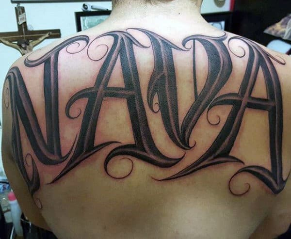 Black Ink Nava Last Name Mens Upper Back Tattoos