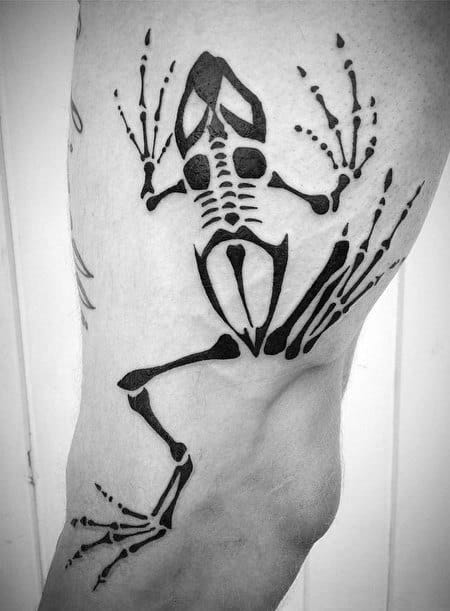 Black Ink Navy Seal Bone Frog Mens Leg Tattoos