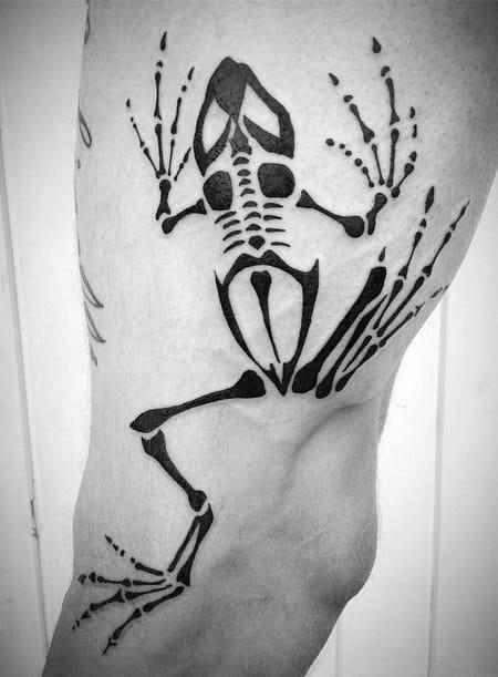Black Ink Navy Seal Bone Frog Mens Leg Tattoos