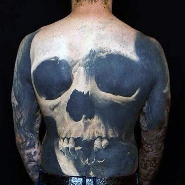 Black Ink Negative Space 3d Skull Back Male Tattoo