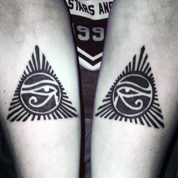 Black Ink Negative Space Eye Of Ra Mens Pyramid Tattoos On Inner Forearm