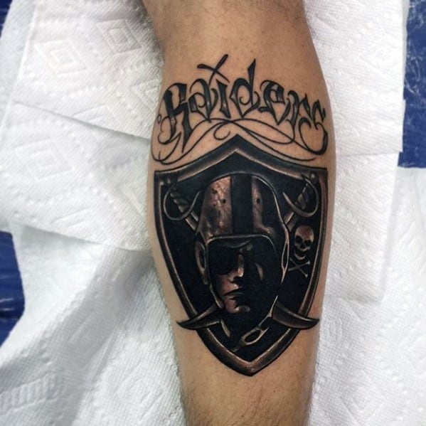Black Ink Oakland Raiders Mens Nfl Football Leg Calf Tattoos