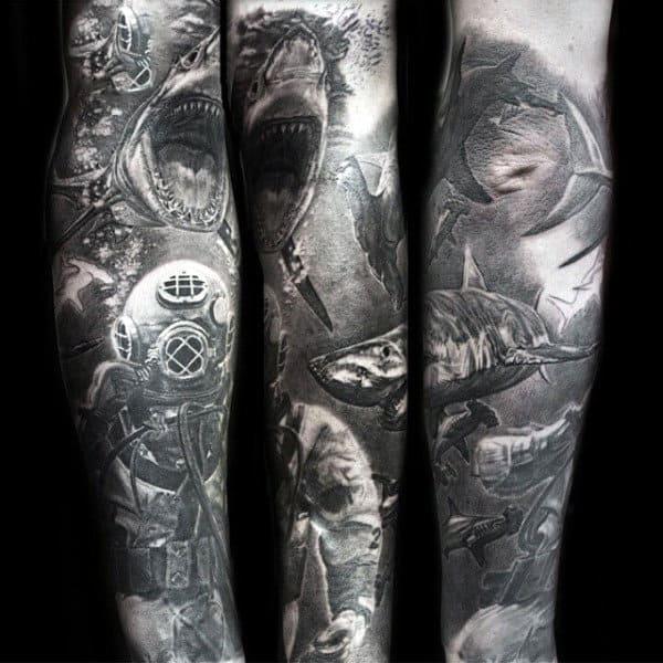 Black Ink Ocean Water Tattoo Sleeves For Guys
