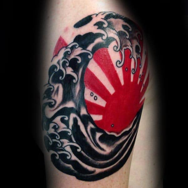 Black Ink Ocean Waves With Red Ink Rising Sun Guys Quarter Sleeve Tattoo Inspiration