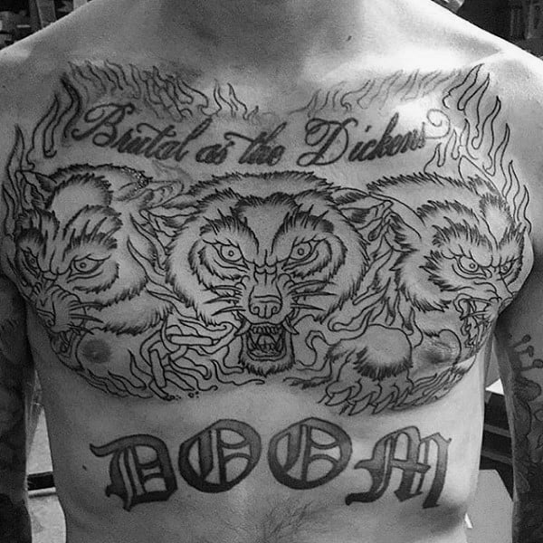 Black Ink Old School Outline Guys Cerberus Upper Chest Tattoos