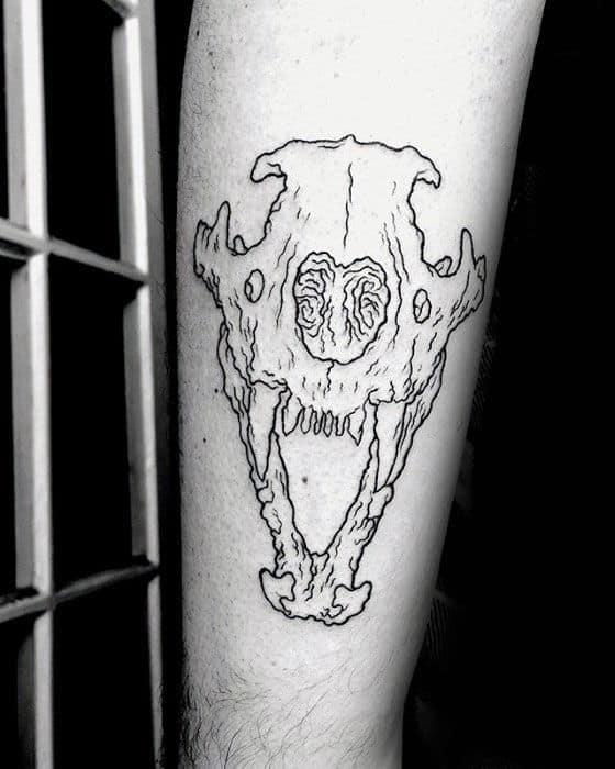 Black Ink Ouline Forearm Lion Skull Tattoos For Men