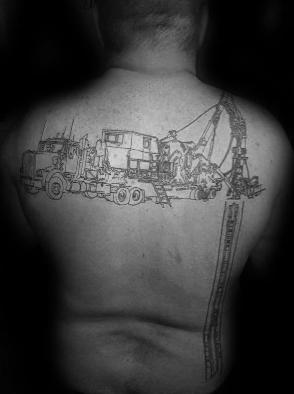 Black Ink Oultine Oilfield Well In Ground Mens Back Tattoo